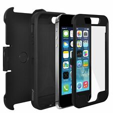 AMZER Black Full Body Hybrid Credit Card 3 Layer Case Holster For iPhone SE 5 5S