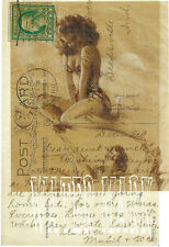 ROLF ARMSTRONG PIN UP BATHING BEAUTY DRAWING POSTCARD*QUILT FABRIC BLOCK*1-5X7