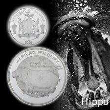 WR Zambia 5000 kwacha Hippo Hippopotamus Africa Wildlife Silver Coin Medal