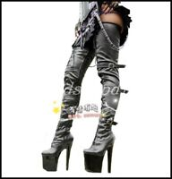 Women's 20CM Stilettos Over Knee Thigh High Boots Platform Club Dance Shoes New
