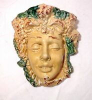 LARGE Italian Majolica terra-cotta pottery Goddess face wall pocket planter