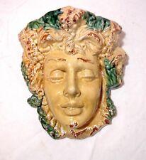 LARGE Italian Majolica terra-cotta pottery Goddess face wall pocket planter