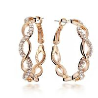 Valentine Deal 18K GOLD Filled INFINITY Crystal Hoop Pierced Earring USGM048