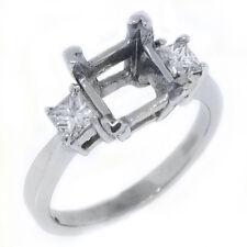 3-STONE WOMENS DIAMOND ENGAGEMENT RING SEMI-MOUNT PRINCESS CUT WHITE GOLD
