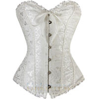 Pure White Lace up Back Boned Corset top Bustier G-string Plus Size S-6XL USA H2
