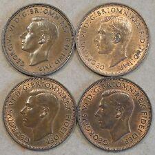 Great Britain 1947,48,50,+52 Half Pennies Bn-RB BU