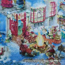 BonEful FABRIC FQ Cotton Quilt Blue Snow Baby Bunny Rabbit US Scenic Winter Xmas