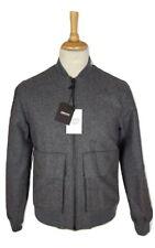 Q330 DKNY Oversized Mens Grey Smoke Heather Wool Bomber Jacket, Small, RRP £420