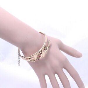 Vintage Rare 12k Rose Gold & Garnet Cuff Bracelet