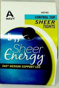 Leggs Sheer Energy 360 Medium Support Leg Control Top Sheer Tights NAVY Size A