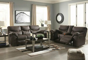 Motion Living Room Brown Microfiber Reclining 2 piece Sofa & Loveseat Set IF1F