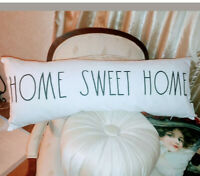 "Rae Dunn Large Letter Home Sweet Home 32"" Pillow New Black & White Home Decor"