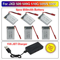 6pcs 3.7V 650mAh Rechargeable Battery & 6 in 1 Charger For JXD 509G 510G Drone