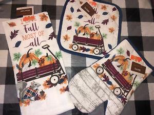 NWT Lot of  3 Fall Harvest Autumn Pot Holder Oven Mitt Wagon Pumpkin Dish Towel