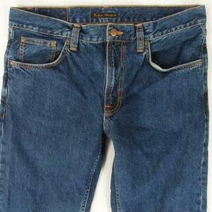 Mens Nudie GRITTY JACKSON Straight Blue Jeans W34 L32
