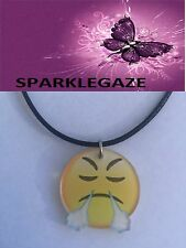 """BRAND NEW 2017 ANGRY DUDE """"EMOJI MOVIE"""" PENDANT WITH BLACK NECKLACE AUS 94"""