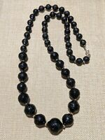 Vintage Gold Tone Black Carved Acrylic Graduated Bead Necklace