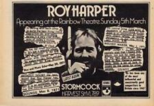 Roy Harper Stormcock LP Rainbow Theatre concert advert Time Out cutting 1972
