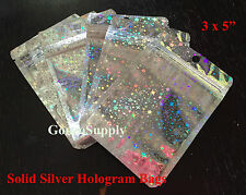 100PC 3x5 All Silver Star Hologram Ziplock Mylar Bags-Food Packaging Merchandise