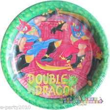 DOUBLE DRAGON SMALL PAPER PLATES (8) ~ Vintage Birthday Party Supplies Dessert