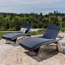 Cushioned Chaise Lounges Outdoor Lounge Chairs Table Wicker Pool 3 Pc Set Brown
