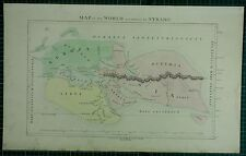 1850 LARGE ANCIENT MAP HAND COLOURED ~ THE WORLD TO STRABO EUROPA ASIA SCYTHIA