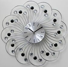 Large 45cm Clear Black Diamante Beaded Jeweled Spiral Silver Metal Wall Clock