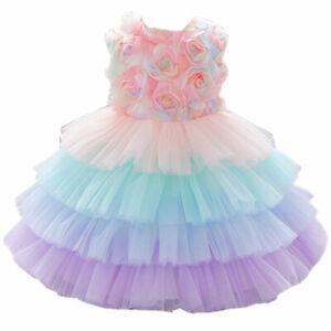 Baby Girl Dress 1st Birthday Party Tutu Rainbow Gowm Unicorn Halloween Costume