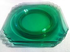 "Four Vintage Fostoria Mayfair Light Green Square 8"" Plates"