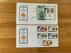 DOMINICA 1977 FDC x 2 QUEEN ELIZABETH 2 SILVER JUBILEE & MINISHEET CHARLES ANNE