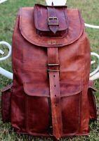 "20"" New GVB Original Leather BackPack Rucksack Travel Bag For Men's and Women's"