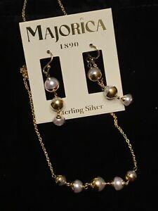 "Majorica 18K Gold Vermeil Teacup Necklace & Dangle Earrings Set 1-1/2"" drop"