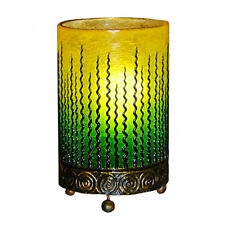 Green Fiberglass Table Bedside Lamp Wave Design Handmade Fair Trade