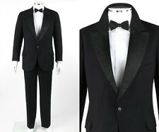 Vtg Couture c.1930's 3 Piece Black Wool Jacket Pants Suit Tuxedo Set w/ Bowtie