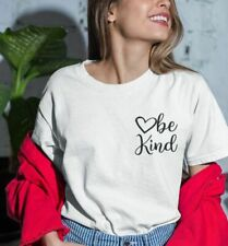 Casual Basic Ladies Tees Be Kind Pocket Prints Design Round Neck Cotton T-Shirts