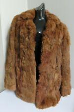 VINTAGE LUXURIOUS NATURAL BROWN GENUINE RABBIT FUR CONEY SKINS JACKET COAT UK 12