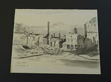 Orig. Zeichnung W. Morisse  Oldenburg  1. Weltkrieg Visé  Belgien Trümmer  1915