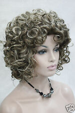 Cosplay Light Brown Mix Blonde Curly Short Synthetic Hair Women's Daily Wig