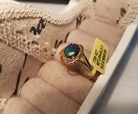 Stunning Canadian Ammolite ring in 14k gold over Sterling silver T