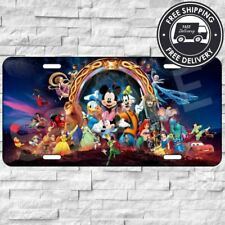 Disney Characters Brushed Aluminum Vanity License Plate Metal Tag Car Truck Auto