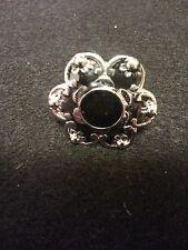 One Tibet Silver Enamel Crystal Adjustable Ring - Black Floral