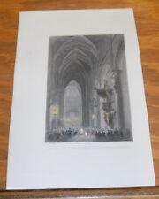 c1840 Antique COLOR Print//INTERIOR OF THE CHURCH OF ST. GUDULE BRUSSELS BELGIUM