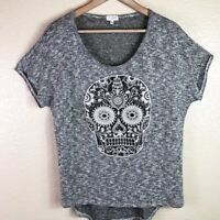 Blu Planet Women's Large Brown White Gray Stretchy Knit Lace Sugar Skull Top