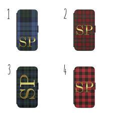 Personalised Initialed Monogram Tartan Pattern H03  Flip Wallet phone Case