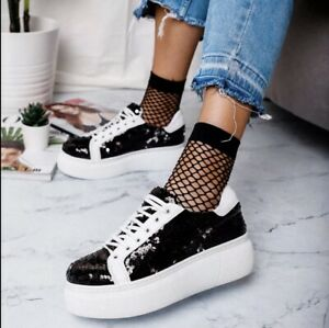 Chunky Glitter Platform Sneakers Black Size UK 7