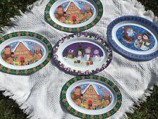 "Set 5 Christmas Winter Plate 18"" Oval Melamine Serving Platter Gingerbread Santa"