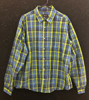 Marmot Button Down Shirt Blue Green Plaid Long Sleeve Nylon Blend Mens Sz XXL