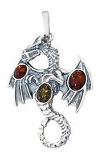 Anhänger Silber 925 Bernstein Dragon großer Drache Silberanhänger Kettenanhänger