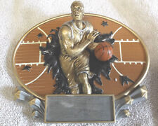 Basketball male trophy resin oval plaque 3D Marco MX2007