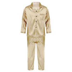 Mens Satin Pajamas Set Two-Piece Nightwear Leisure Wear Top Long Pants Sleepwear